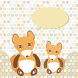Polka dot background, pattern. Funny cute fox with speech bubble. Vector Stock Photography