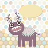 Polka dot background, pattern. Funny cute monster on dot background. Vector Royalty Free Stock Images