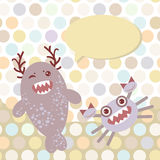 Polka dot background, pattern. Funny cute monsters. On dot background. Vector illustration Royalty Free Stock Photos