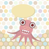 Polka dot background, pattern. Funny cute octopus monster on dot background. Vector Stock Photography