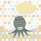 Polka dot background, pattern. Funny cute octopus monster on dot background. Vector Stock Images