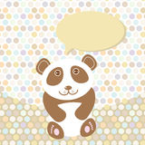 Polka dot background, pattern. Funny cute panda on dot background. Vector Royalty Free Stock Image