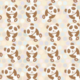 Polka dot background, pattern. Funny cute panda on dot background. Vector Stock Image