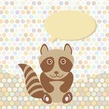 Polka dot background, pattern. Funny cute raccoon on dot background. Vector Royalty Free Stock Photo