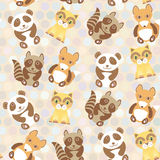 Polka dot background, pattern. Funny cute raccoon, panda, fox, cat on dot background. Vector Royalty Free Stock Image