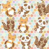 Polka dot background, pattern. Funny cute raccoon, panda, fox on dot background. Vector Royalty Free Stock Photos