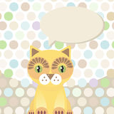 Polka dot background, pattern. Funny cute red cat Stock Photography