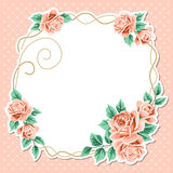 Polka dot background with roses Stock Photos
