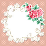 Polka dot background with roses Stock Images