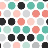 Polka dot background, seamless pattern. Black teal gray pink sky blue color dot isolated on white background. Vector illustration