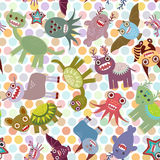 Polka dot background, seamless pattern. Funny cute dinosaur monsters. Vector Stock Images
