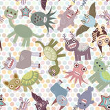 Polka dot background, seamless pattern. Funny cute dinosaur monsters. Vector Stock Image