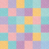 Polka dot background seamless pattern with orange pink lilac blue square. Vector Royalty Free Stock Image