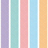 Polka dot background seamless pattern with orange pink lilac blue stripes. Vector Stock Images