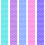Polka dot background seamless pattern with pink lilac blue stripes. Vector Stock Photo