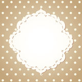 Polka dot background with textile label Royalty Free Stock Images