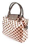 Polka dot bag. On white Royalty Free Stock Image