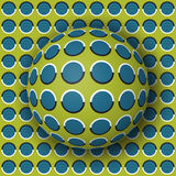 Polka dot ball rolling along the polka dot surface. Abstract vector optical illusion illustration. Extravagant background and tile of seamless wallpaper Stock Images