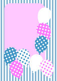 Polka dot balloons invitation card. Polka dot balloons and rounded corner frame to write message. Striped background Royalty Free Stock Photo