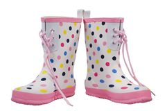 Polka Dot Boots Spread. Polka dot rain boots  with pink trim isolated on a white background with clipping path Stock Photo