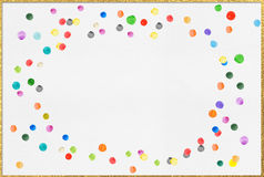 colourful ink dot with glod border on white paper Stock Photography