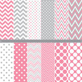 Polka Dot and Chevron seamless pattern set Stock Image