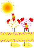 Polka Dot Chikens Easter Card Royalty Free Stock Image