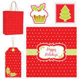 Polka dot christmas set Stock Images