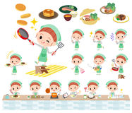 Polka dot clothes ribbon girl cooking. Set of various poses of Polka dot clothes ribbon girl cooking Stock Images