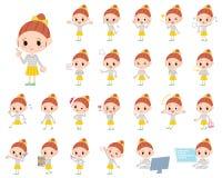 Polka dot clothes ribbon girl. Set of various poses of Polka dot clothes ribbon girl Stock Images