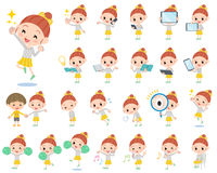 Polka dot clothes ribbon girl 2. Set of various poses of Polka dot clothes ribbon girl 2 Royalty Free Stock Images