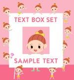 Polka dot clothes ribbon girl text box. Set of various poses of Polka dot clothes ribbon girl text box Stock Photo
