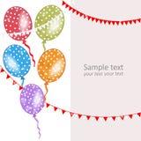 Polka dot colorful balloons vector greeting card Stock Images