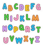 Polka-dot colorful letters alphabet set. English alphabet set of polka-dot patterned and outlined bold letters of various colors. No fonts used, letter shapes royalty free illustration