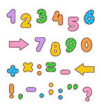 Polka-dot colorful numbers and signs set Stock Images