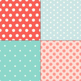 Polka dot colorful painted seamless patterns set Royalty Free Stock Photos