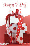 Polka dot decorated gifts on red and white background with sample text. Or copy space for Valentine, Mothers Day, International Womens Day, birthday, wedding royalty free stock photos