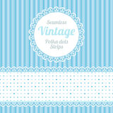 Polka dot. Design elements: seamless strips pattern, polka dot and border and round label Stock Photo