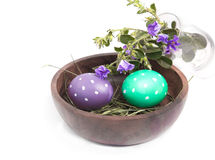 Polka dot eggs with field flowers Royalty Free Stock Photos