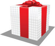Polka-dot fabric present box. With red ribbon and bow, vector illustration Stock Photography