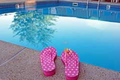 Free Polka Dot Flip-flops By Swimming Pool Stock Images - 6049414