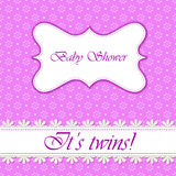Polka dot flowers baby shower twins. Vector polka dot flowers baby shower twins Stock Images