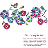 Polka-dot flowers and birds Stock Photo