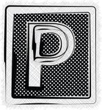 Polka-Dot Font-BUCHSTABE P Stockfotografie