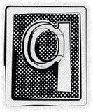 Polka-Dot Font-BUCHSTABE q Lizenzfreies Stockfoto