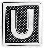 Polka-Dot Font-BUCHSTABE U Stockfoto