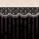 Polka dot fringe lace on black background. Stock Image