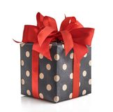 Polka dot Gift box. With red ribbon isolated on white background Royalty Free Stock Image
