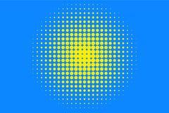 Polka dot halftone pattern. Yellow circles, points on blue background. Vector illustration royalty free illustration