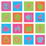 Polka dot icons, set 1 Stock Photo